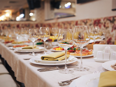 A celebration dinner table