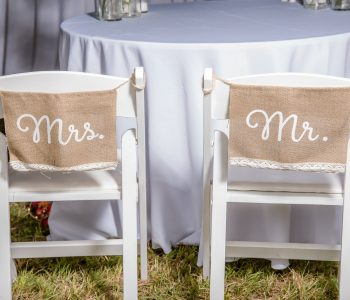 Wood Padded Chairs with Mr and Mrs